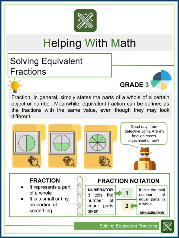 Fractions Equal To Whole Numbers Worksheet