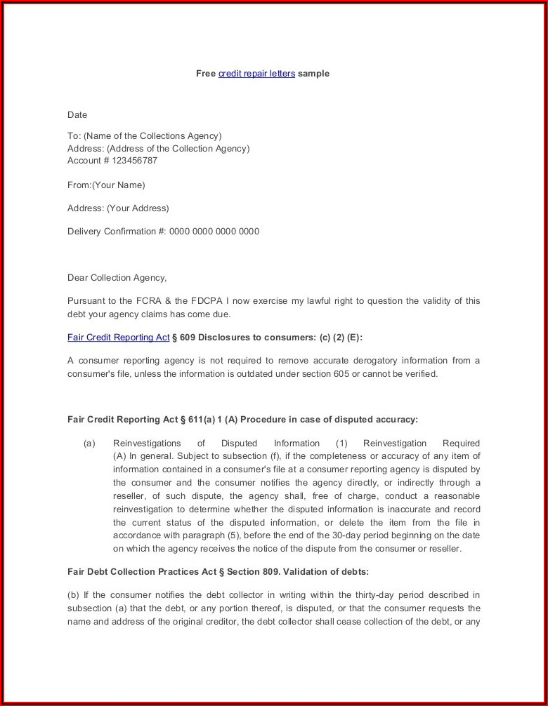 Free 609 Dispute Letter Template