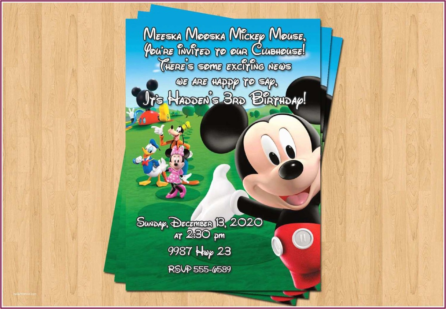 Free Personalized Mickey Mouse Clubhouse Birthday Invitations