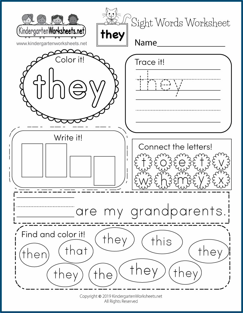 Free Worksheet For Sight Words