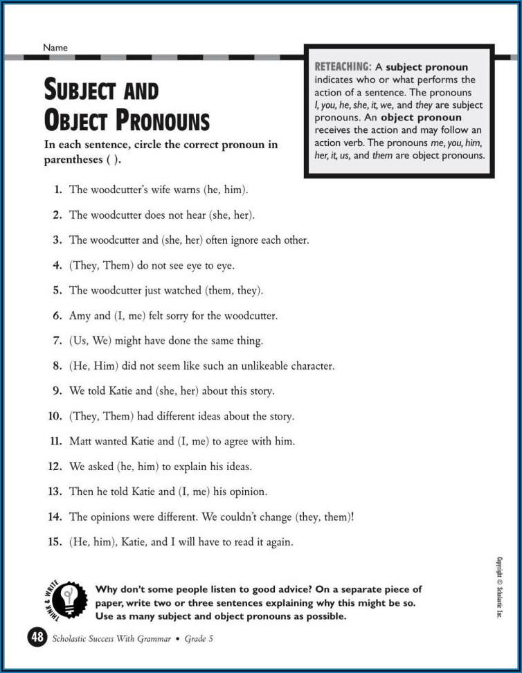 Free Worksheets For Grade 5 English Grammar