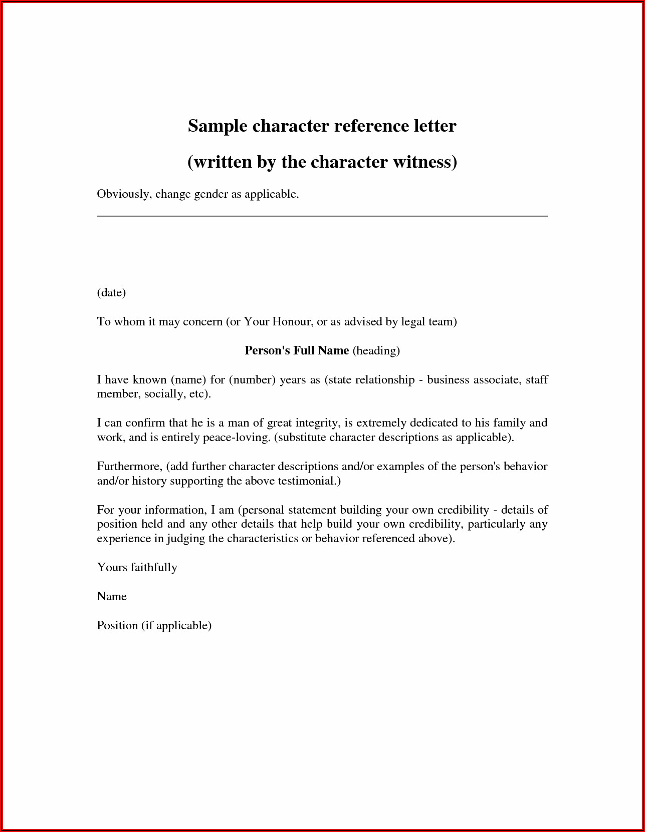 Friend Character Reference Letter For Court Child Custody