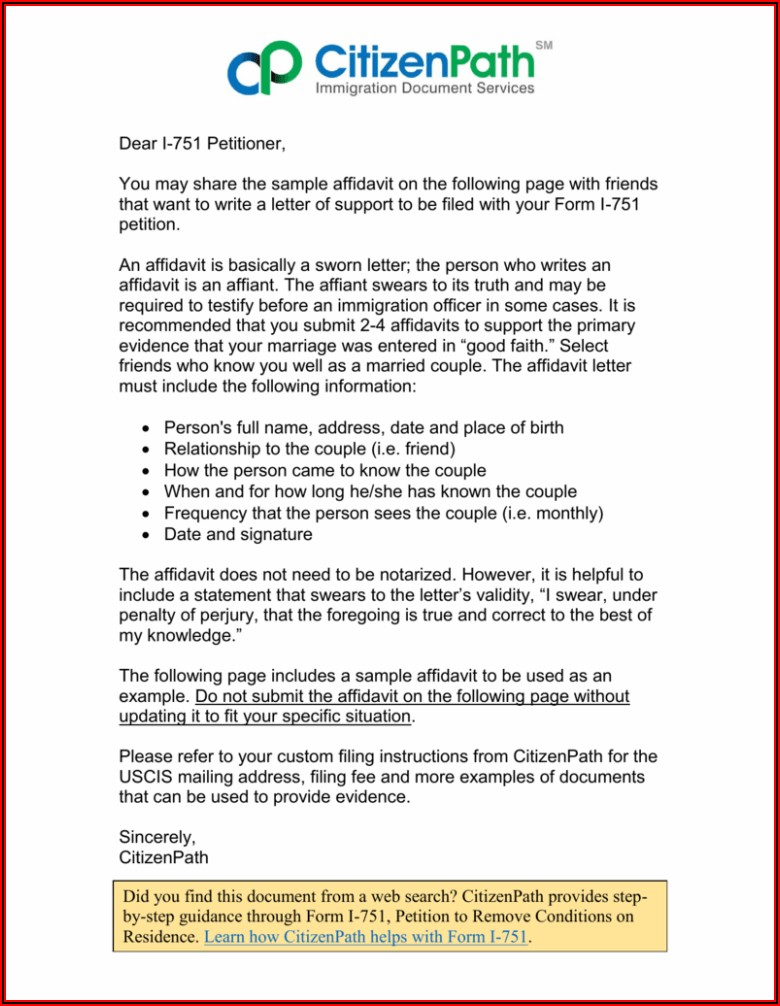 Good Faith Marriage Affidavit Letter Sample Pdf