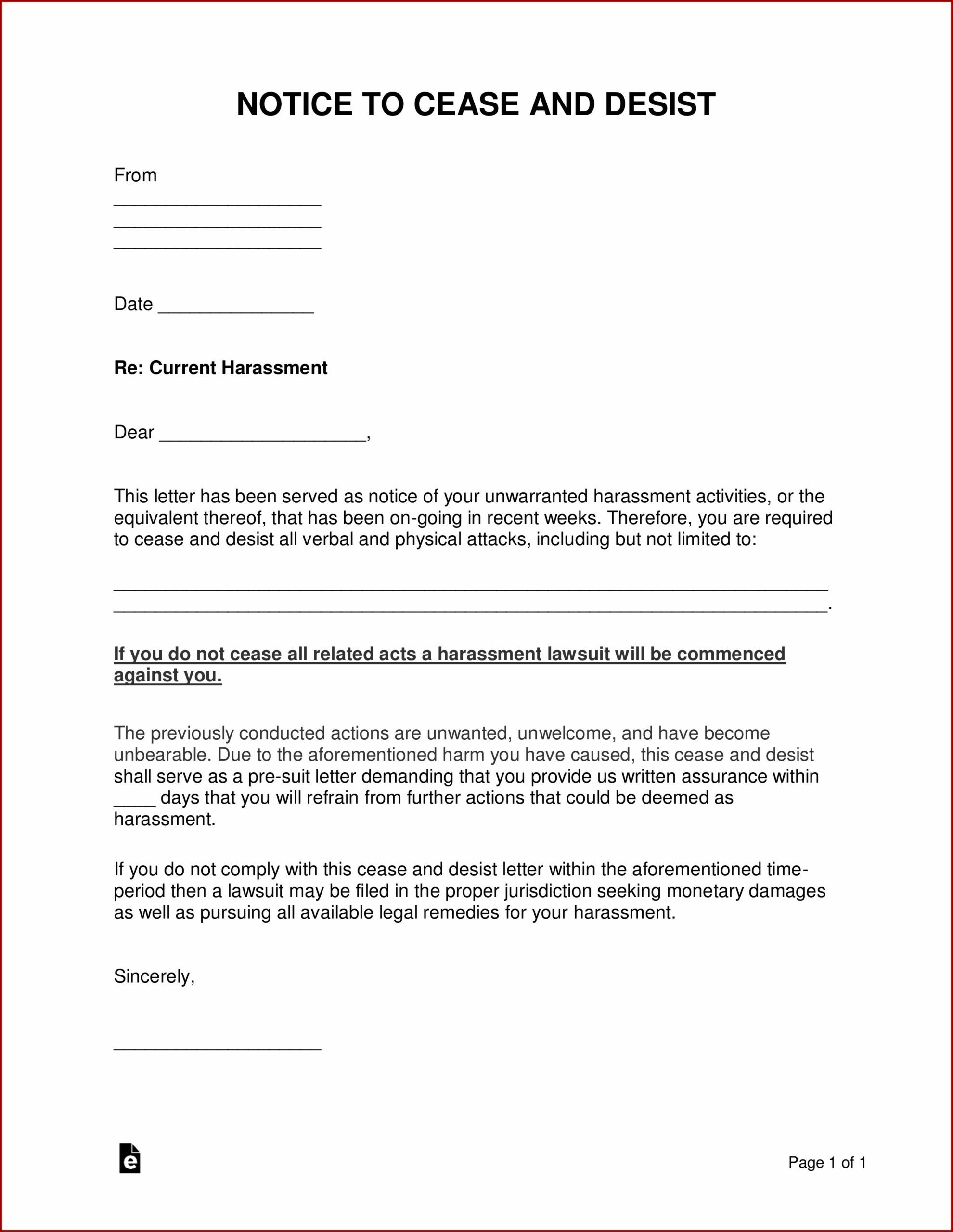 How To Write A Cease And Desist Letter For Harassment Uk