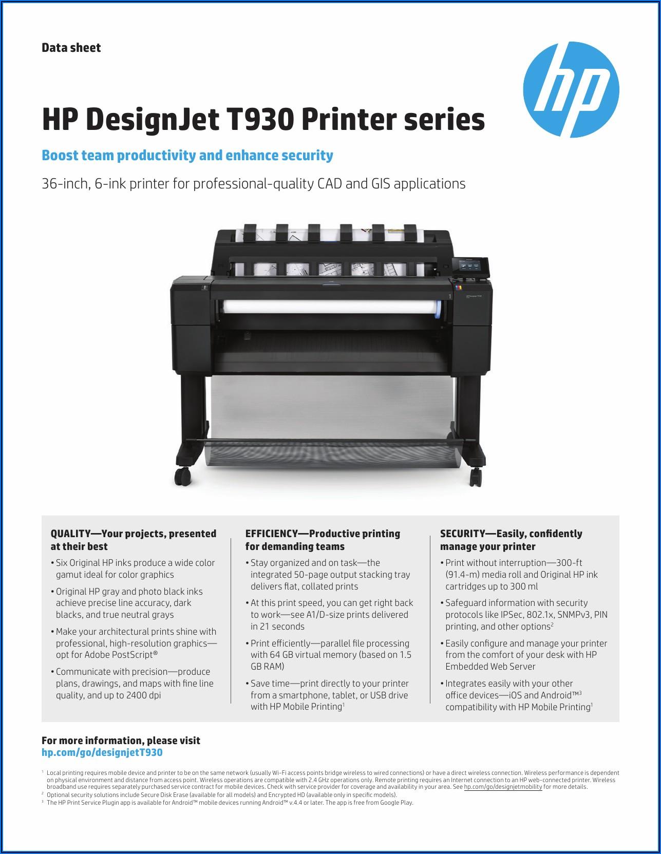 Hp Designjet T930 Brochure Pdf