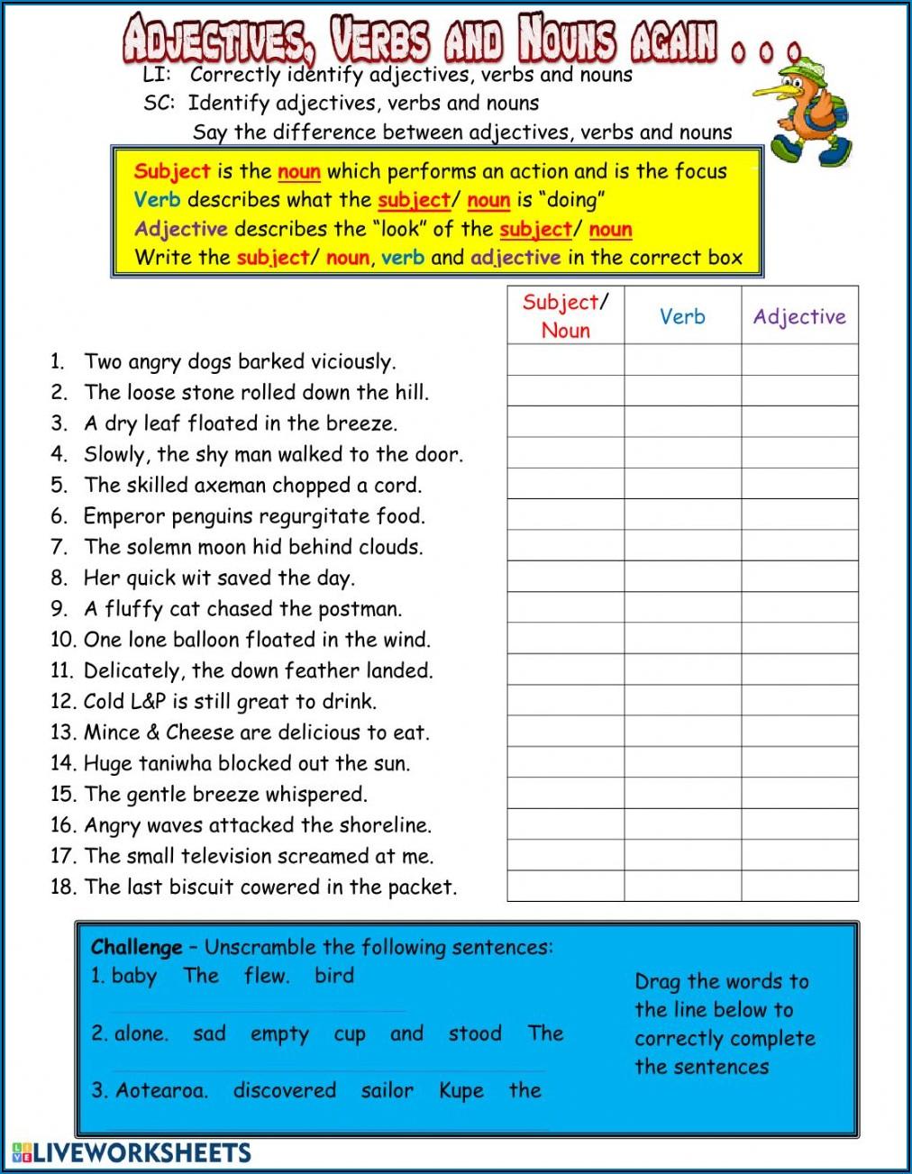 Identifying Descriptive Adjectives Worksheets