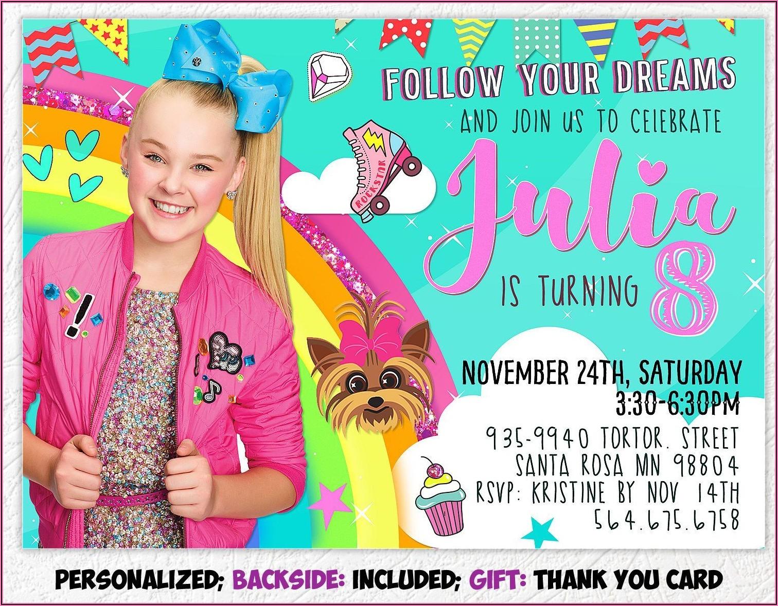 Jojo Siwa Birthday Invitation Card