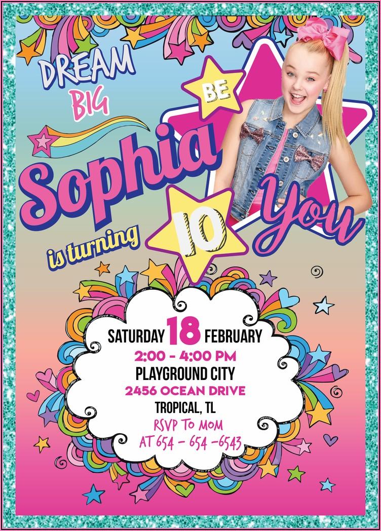Jojo Siwa Birthday Party Invitation Template