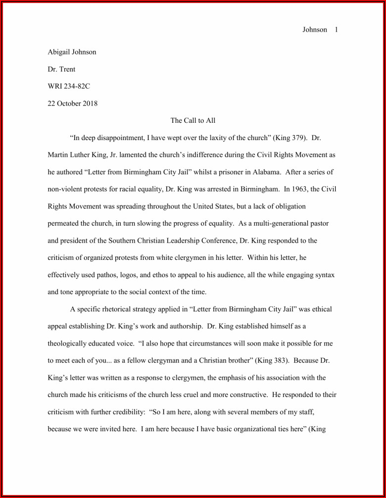King Letter From Birmingham Jail Analysis