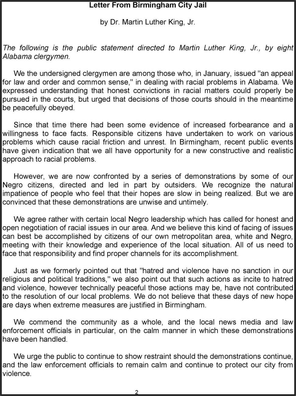 King Letter From Birmingham Jail Pdf