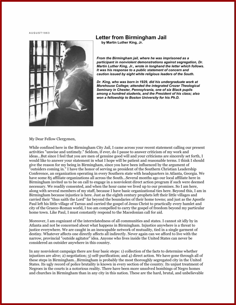 King Wrote Letter From Birmingham Jail In Response To What