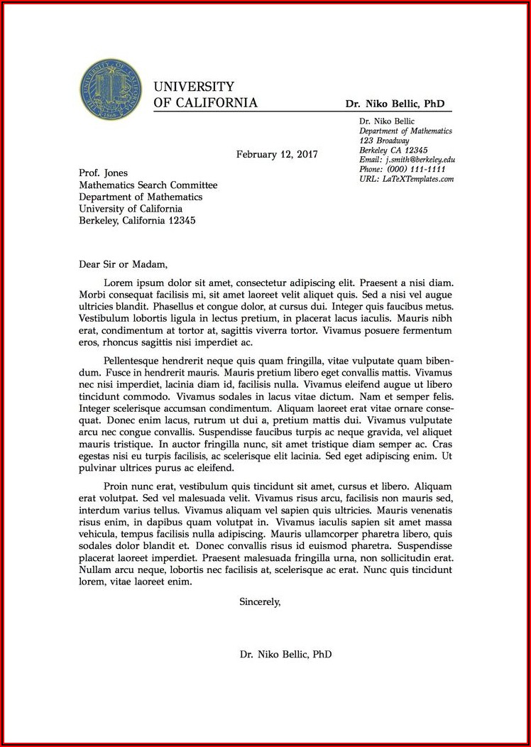 Latex Journal Cover Letter Template