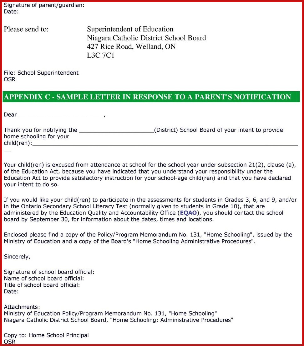 Letter Of Intent To Homeschool Ontario