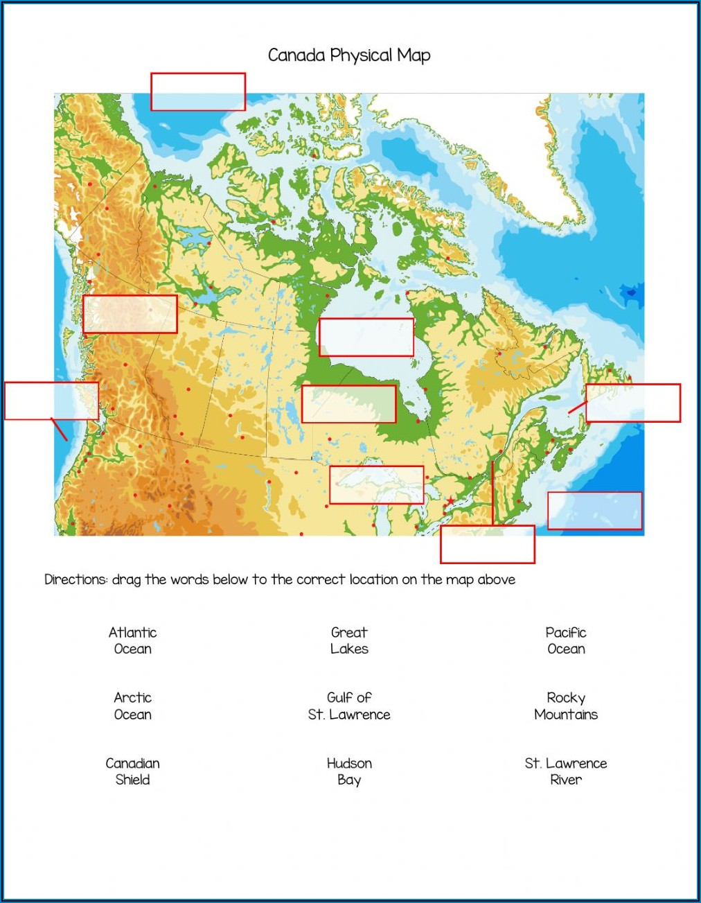 Map Of Canada Worksheet Pdf