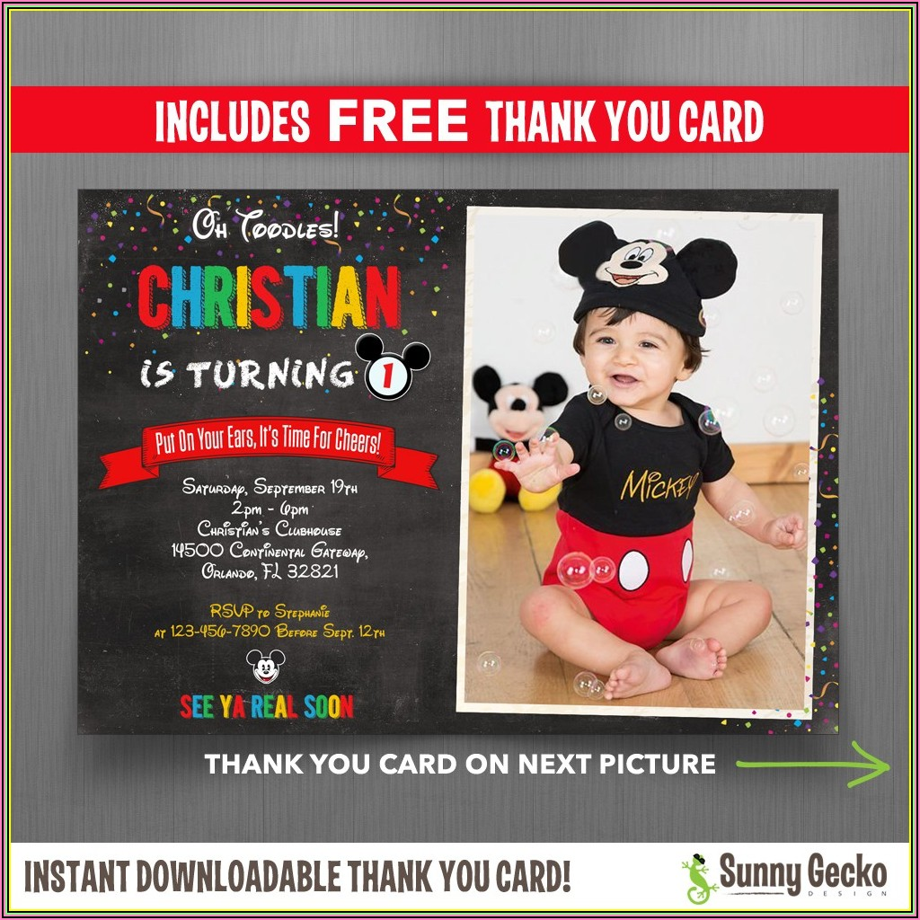 Mickey Mouse 1st Birthday Invitation Wording