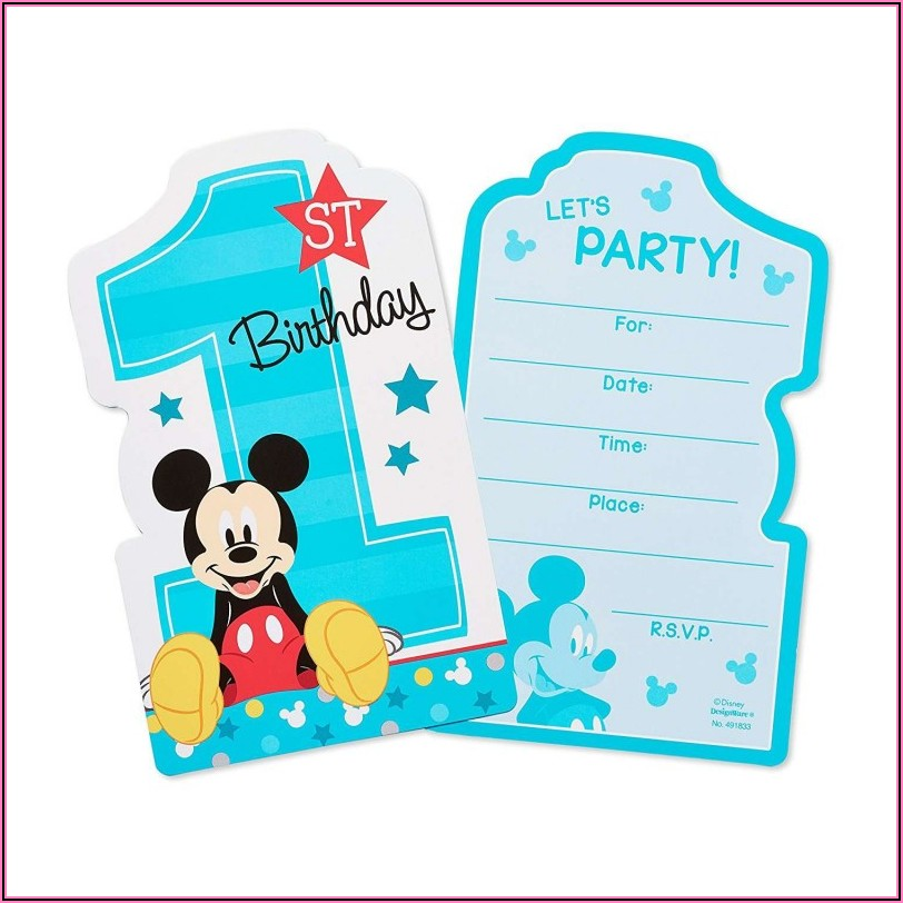 Mickey Mouse 1st Birthday Party Invitations