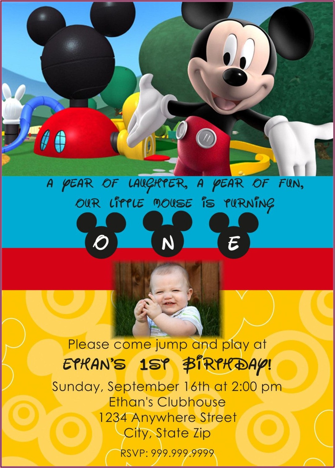Mickey Mouse Clubhouse 2nd Birthday Invitations