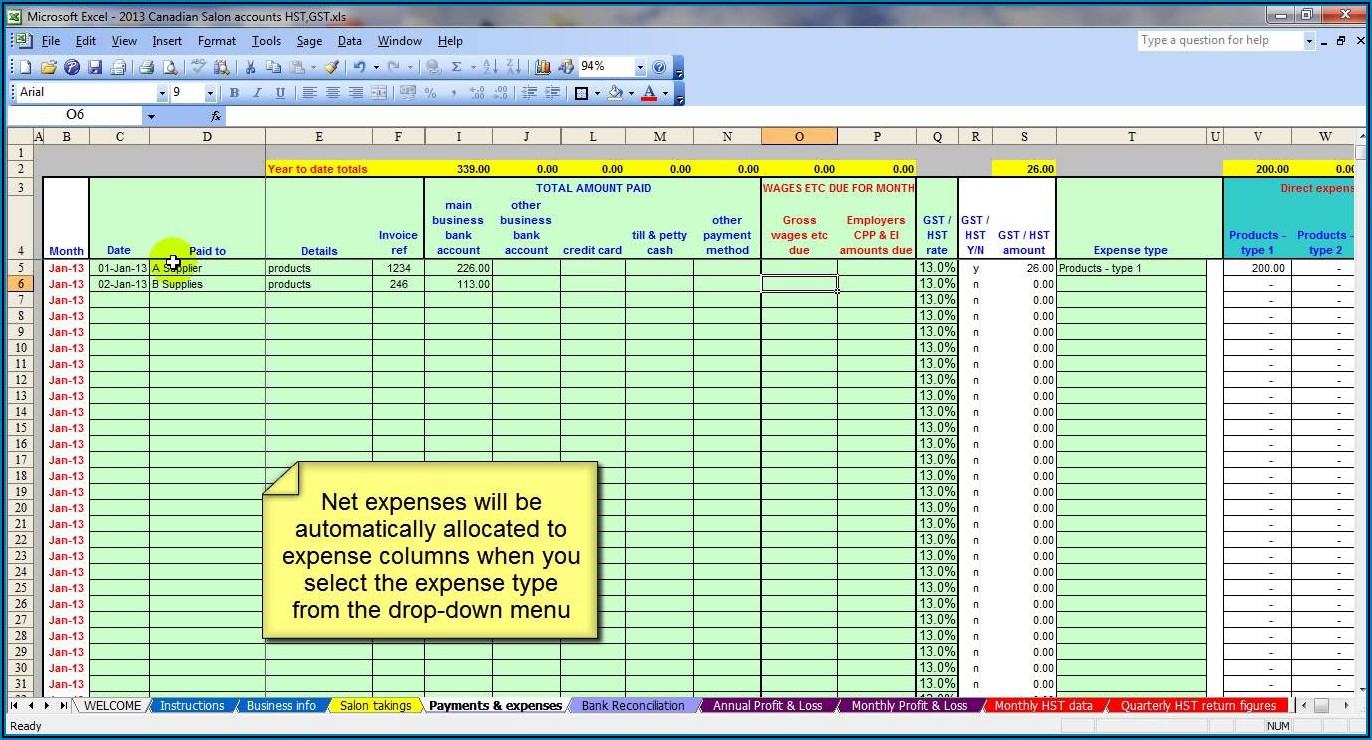 Microsoft Excel Accounting Template Free Download