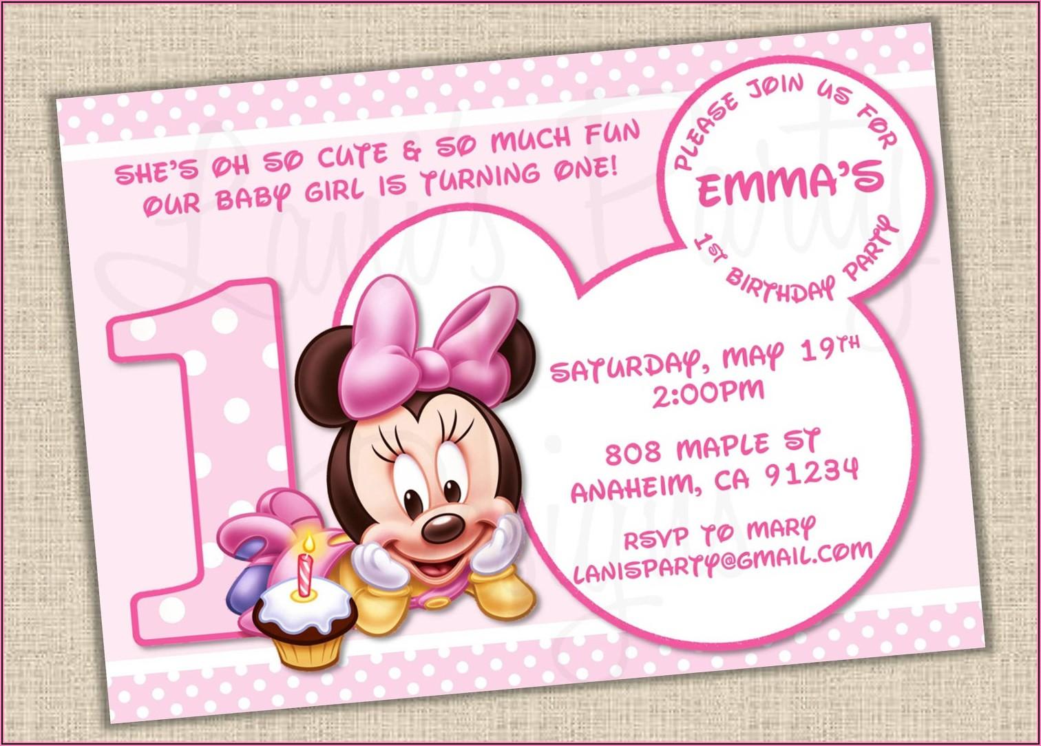 Minnie Mouse 1st Birthday Invitation Ideas