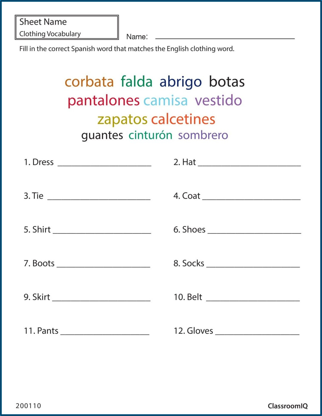 Monthly Budget Worksheet In Spanish