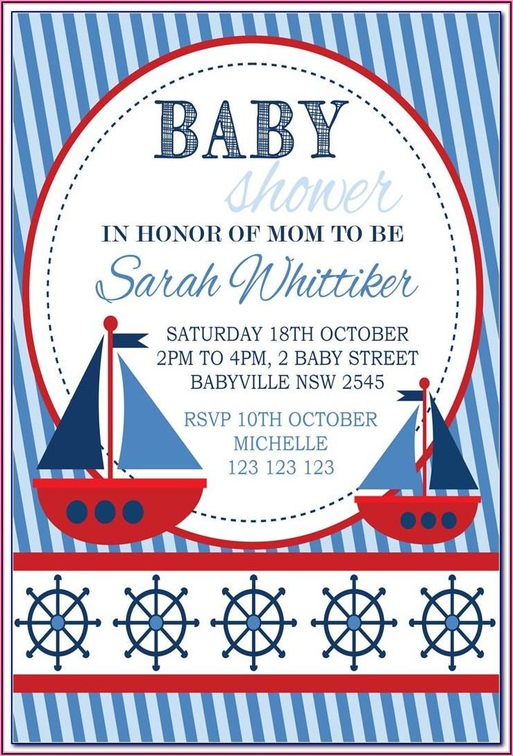 Nautical Girl Baby Shower Invitations Templates Free