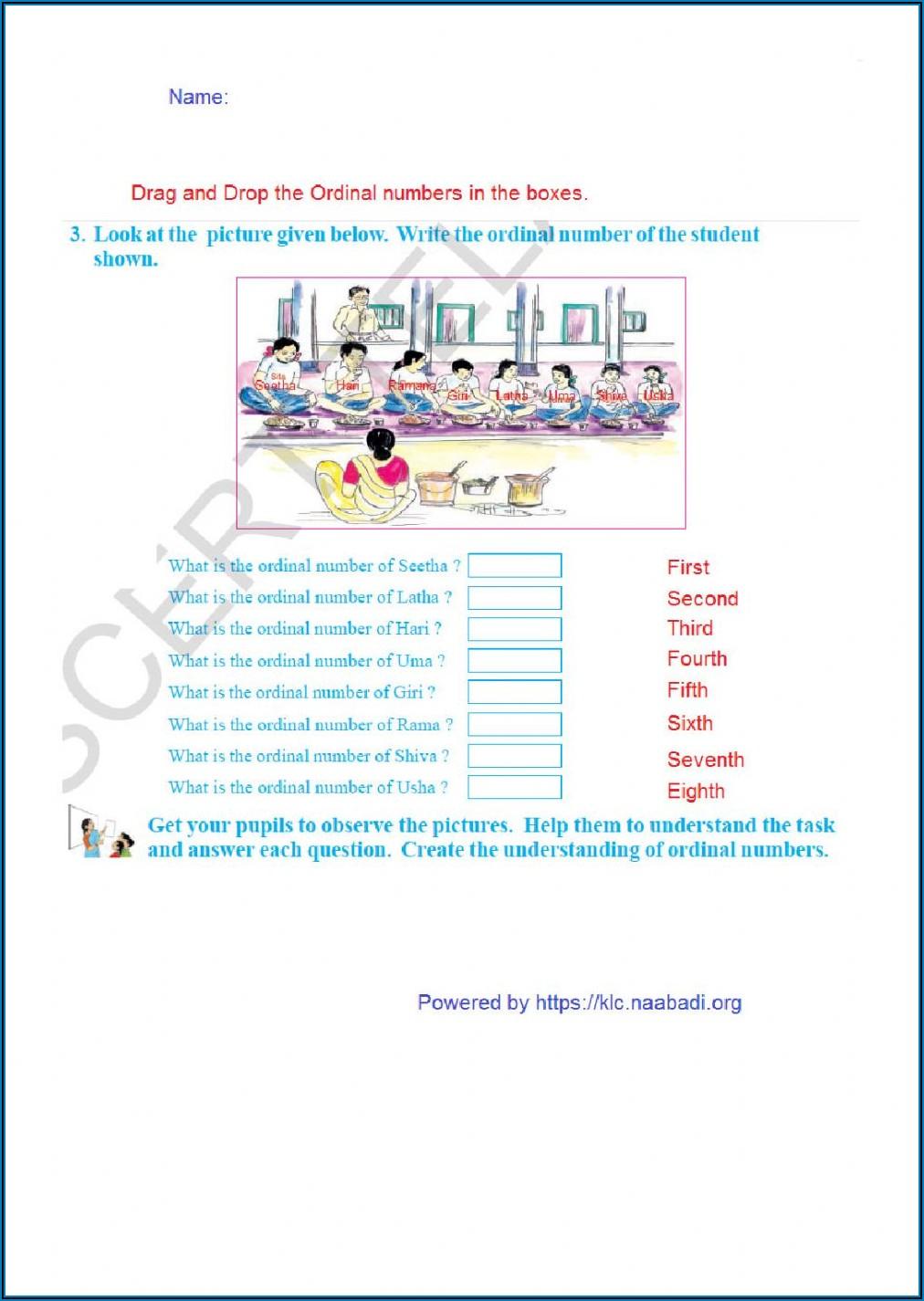 Ordinal Numbers 1 To 20 Worksheet