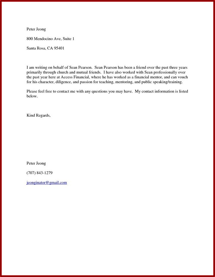 Personal Recommendation Letter For Immigration Sample