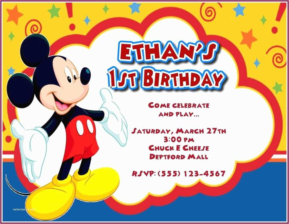 Personalized Mickey Mouse Clubhouse 1st Birthday Invitations