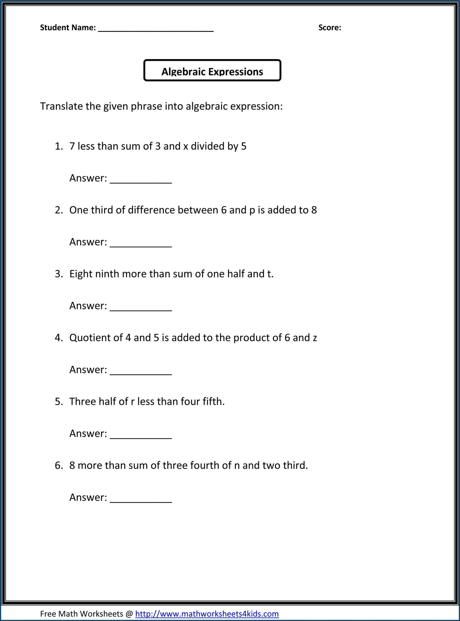 Pre Algebra Word Problems Worksheet Pdf