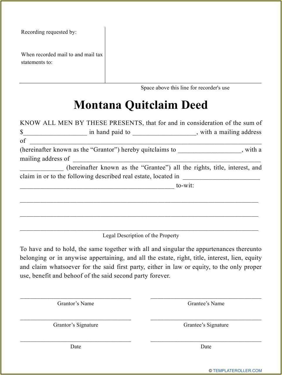 Printable Blank Quit Claim Deed Form