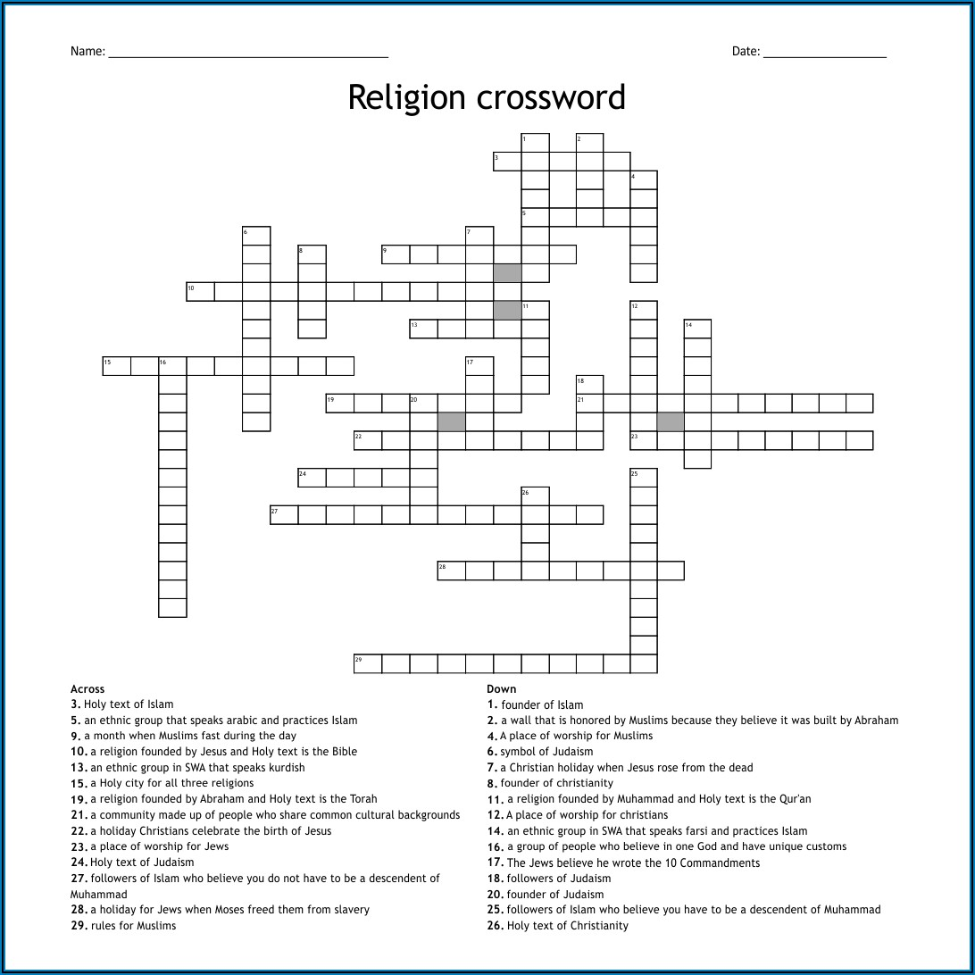 Printable Crossword Puzzles Middle School