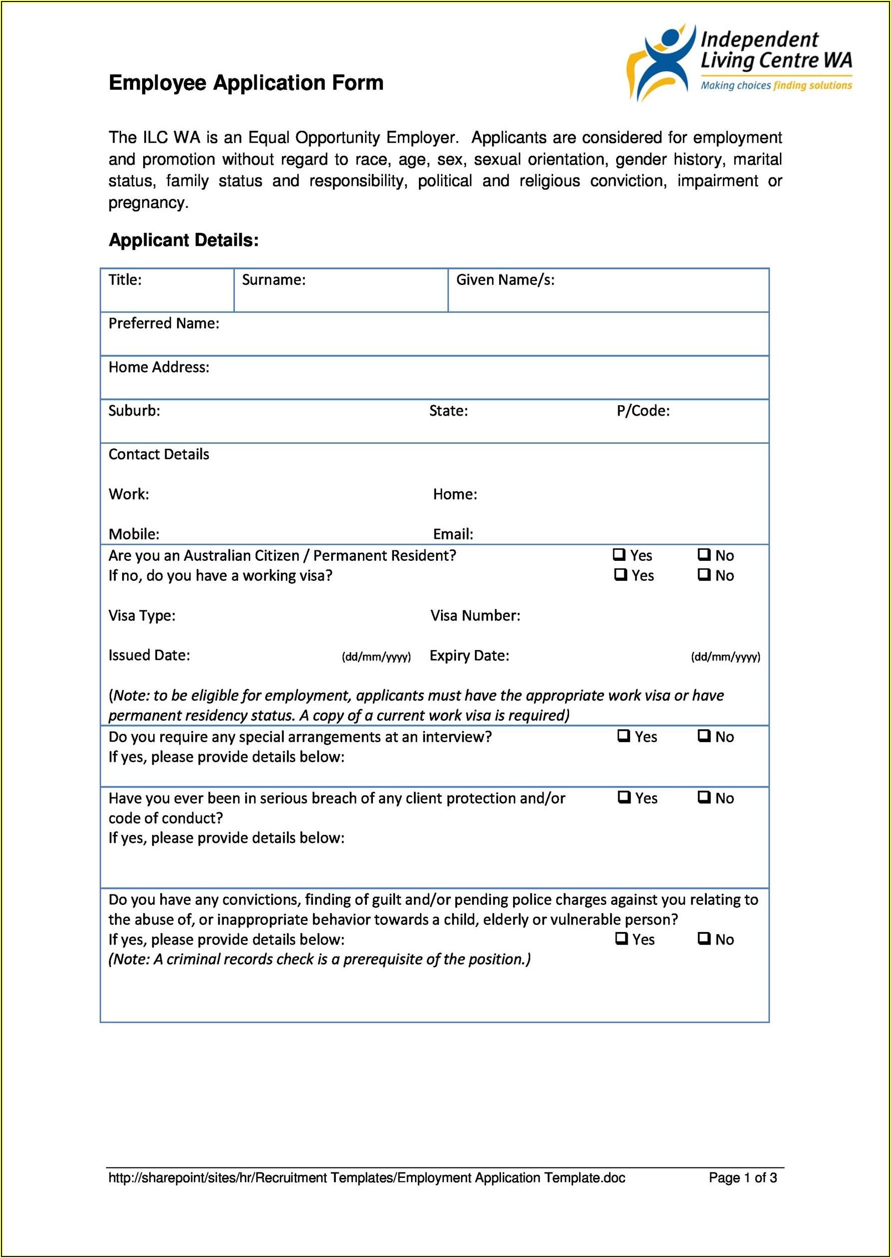 Printable Job Application Form Template Uk