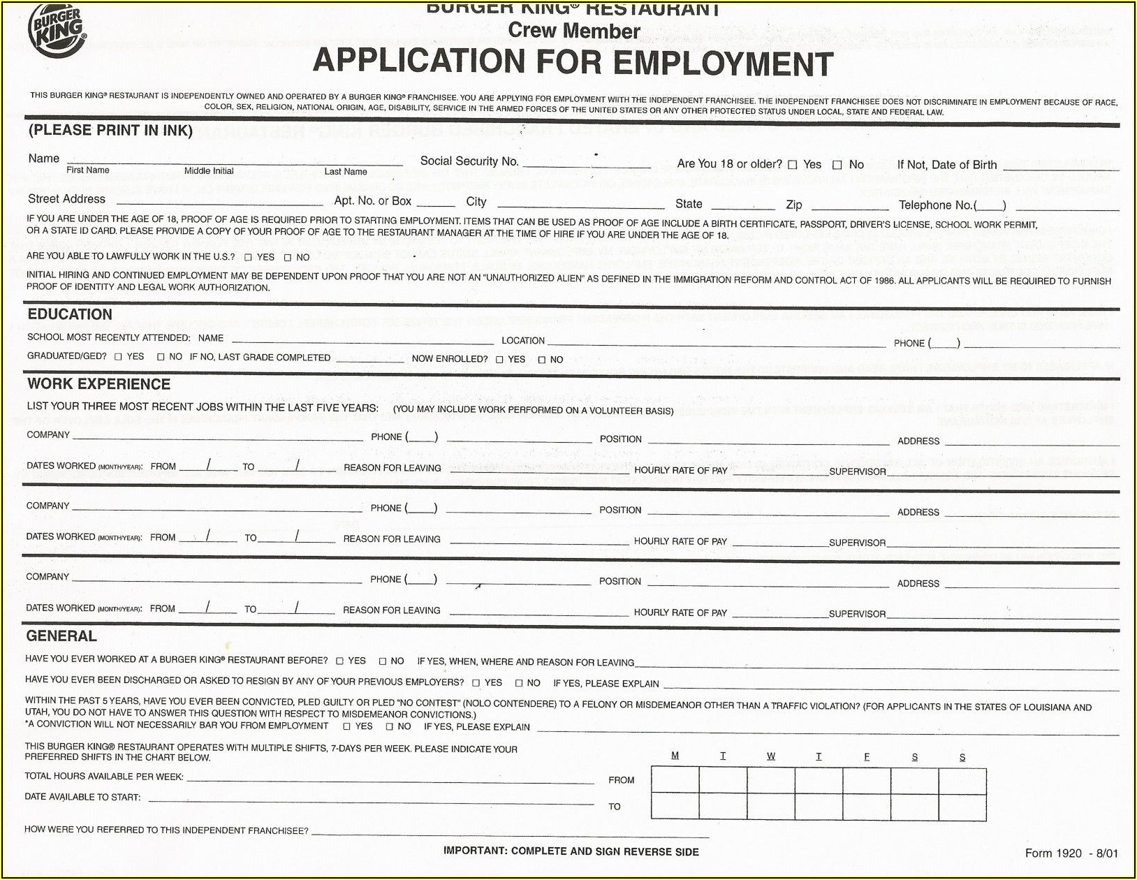 Printable Job Application Forms