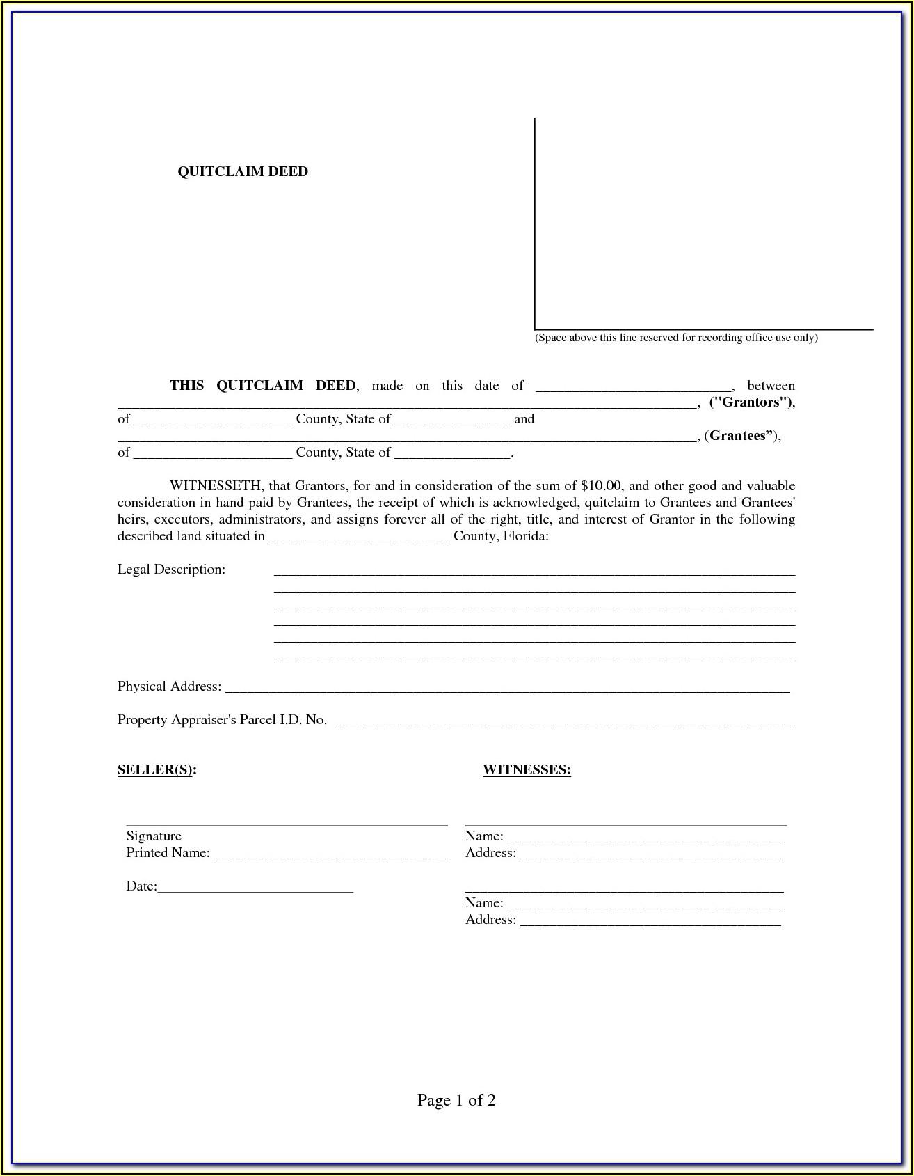Printable Quit Claim Deed Form Florida