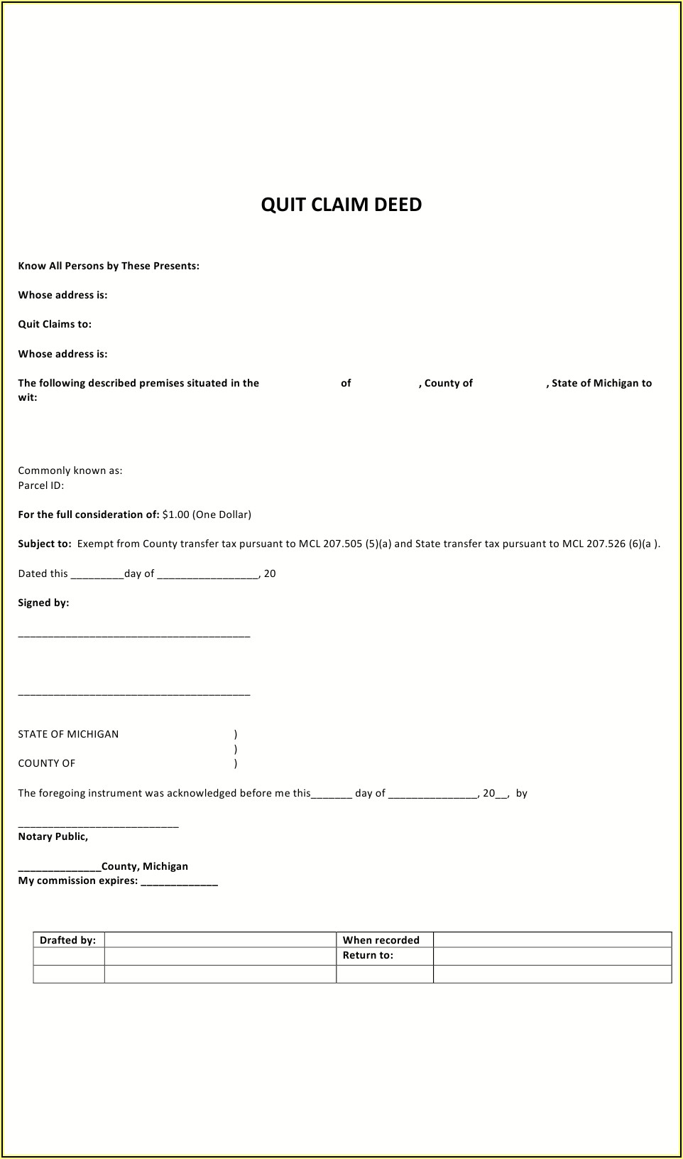 Printable Quit Claim Deed Form Michigan
