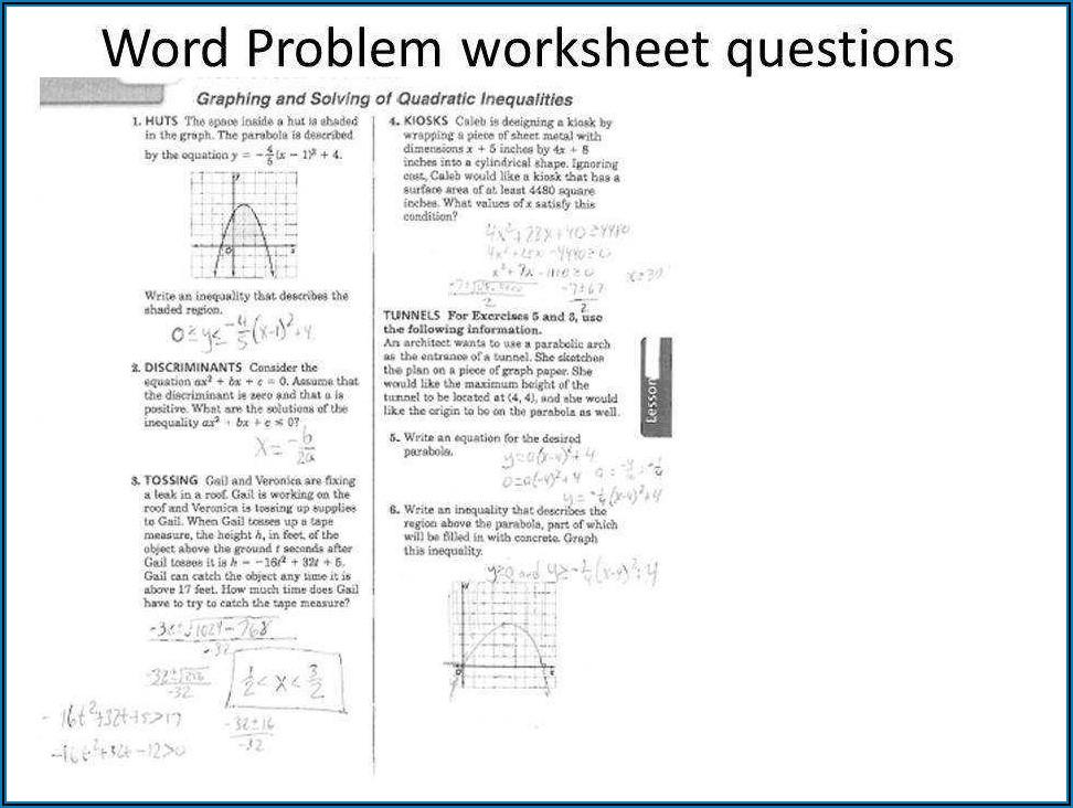 Quadratic Word Problems Solving Quadratic Equations Worksheet