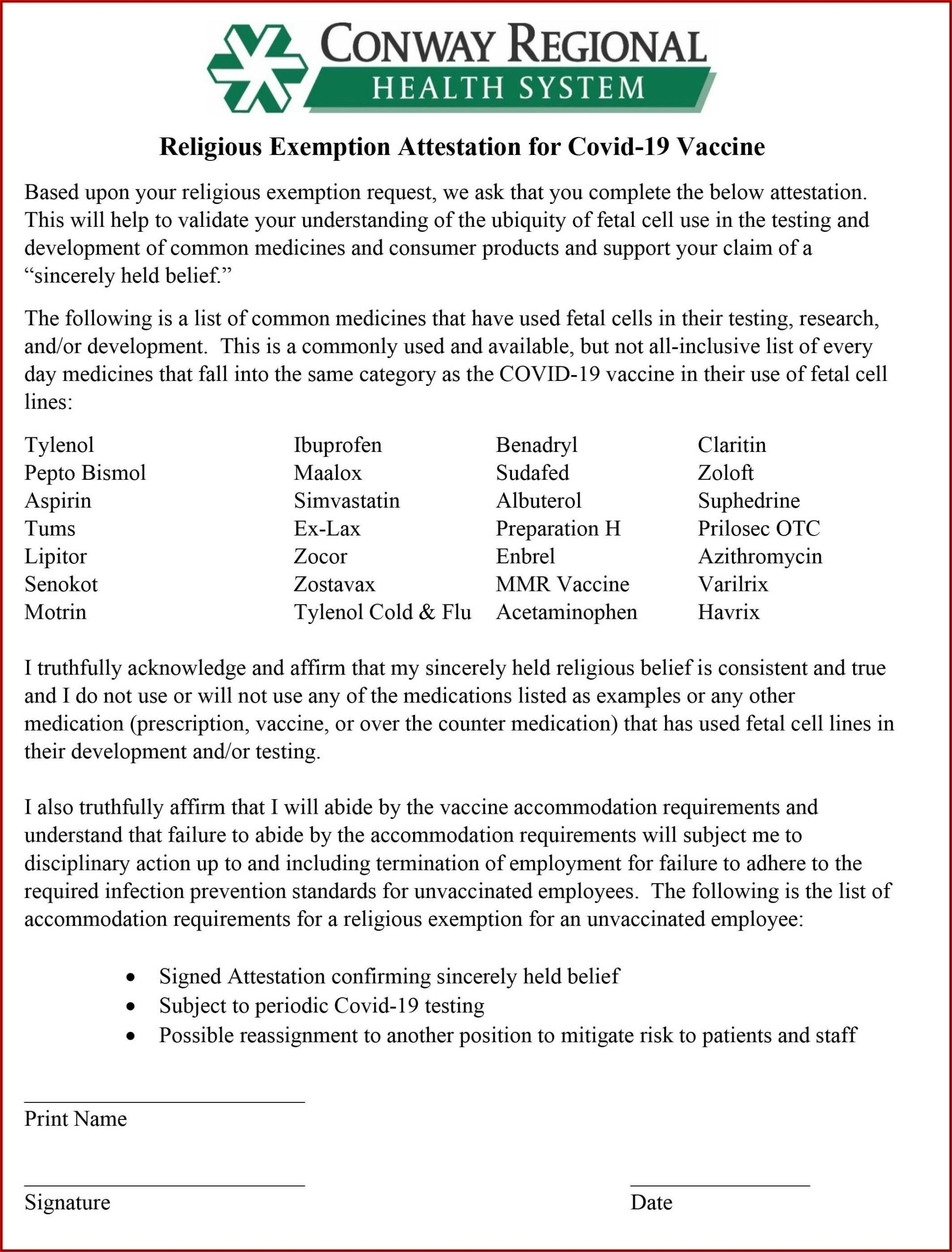 Religious Exemption Vaccination Letter For Work