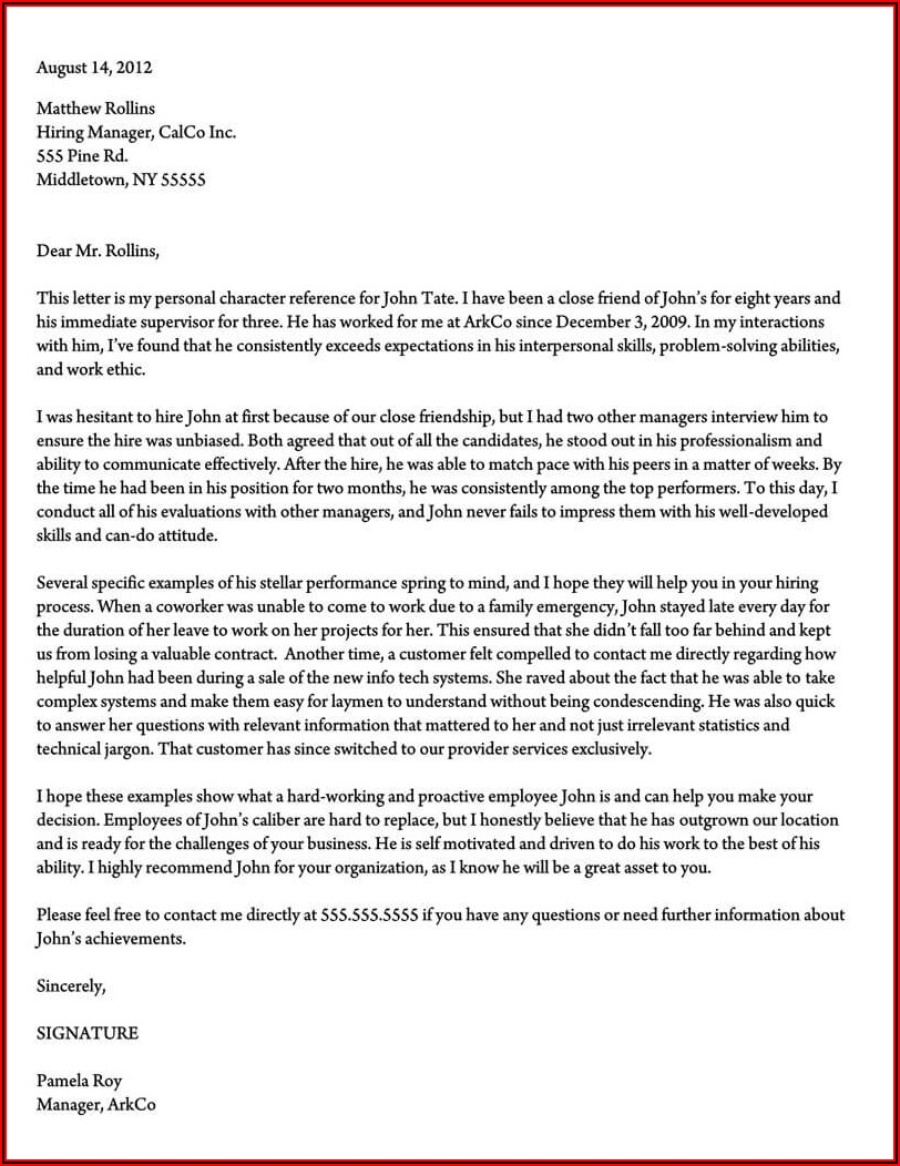 Sample Character Reference Letter For Immigration Court