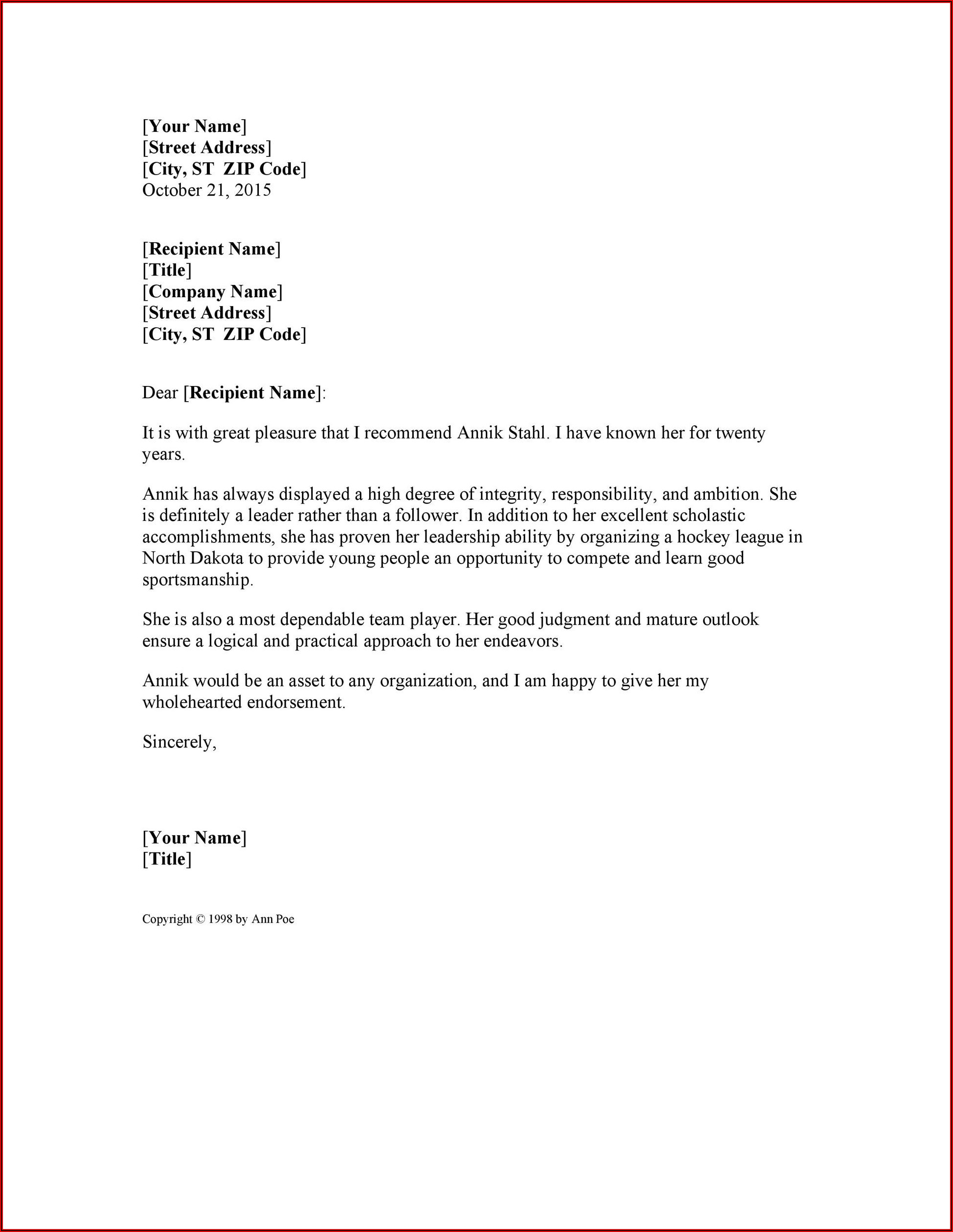 Sample Good Character Reference Letter For Immigration