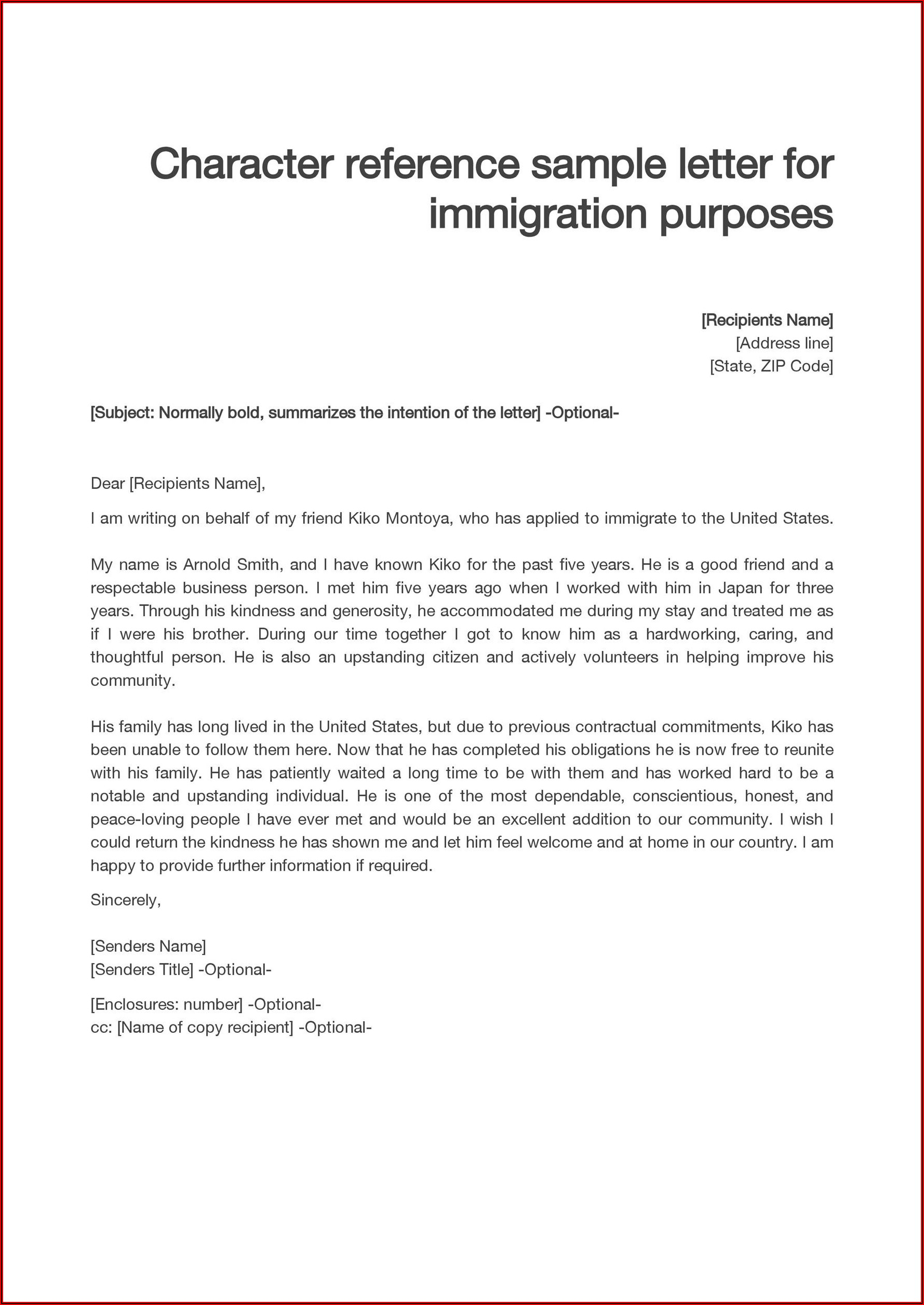 Sample Personal Reference Letter For Immigration Purposes