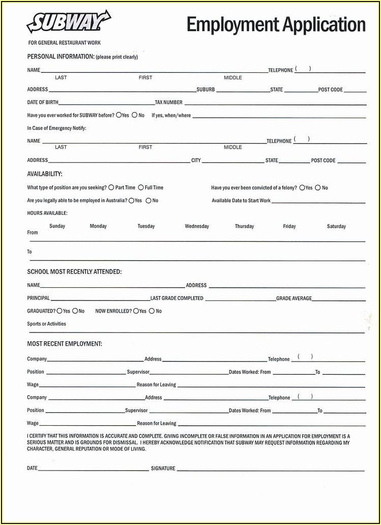 Sample Printable Job Application Forms