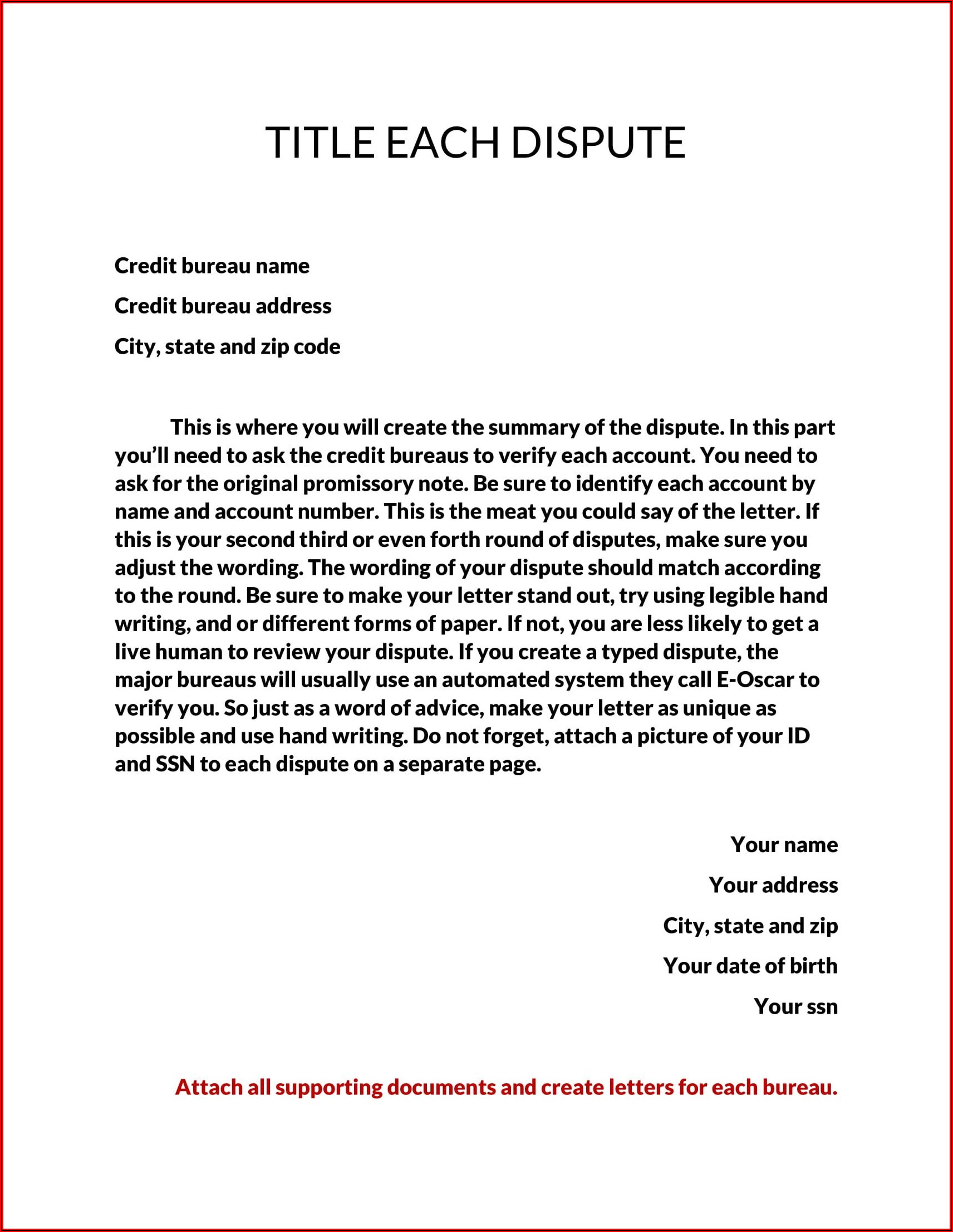 Section 609 Credit Dispute Letter Template Pdf
