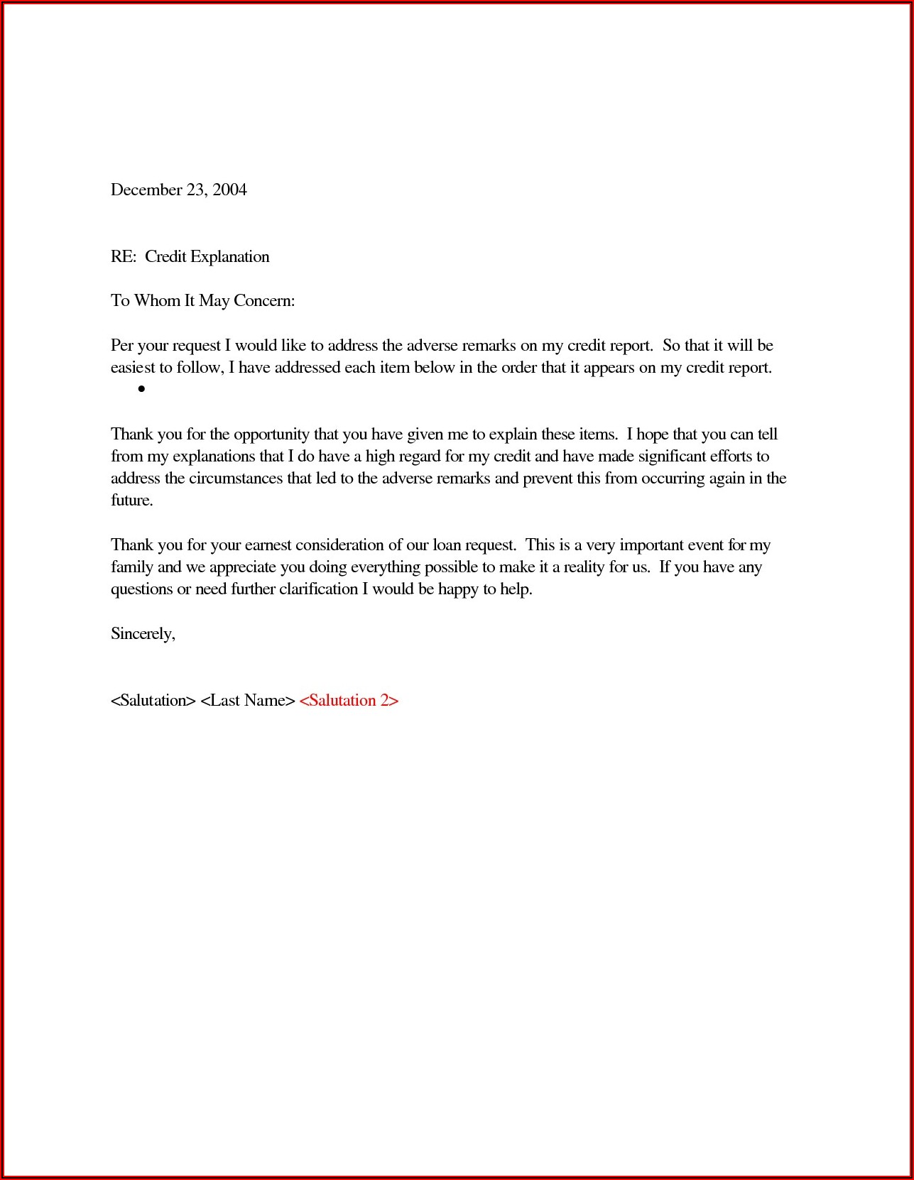 Section 609 Dispute Letter Template