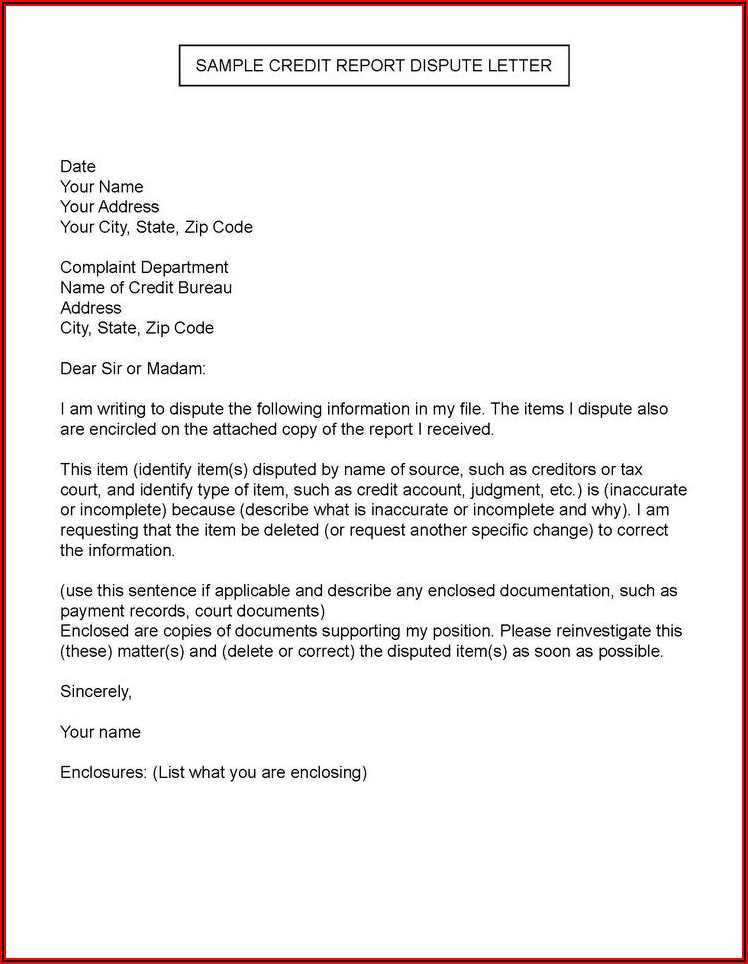Section 609 Dispute Letters