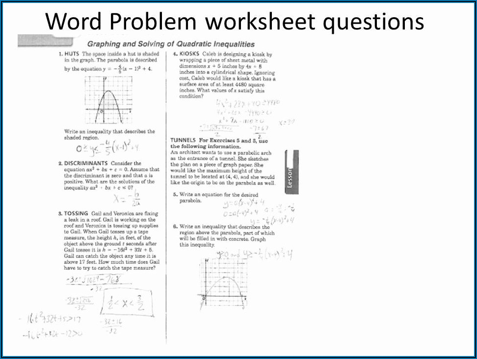 Solving Quadratic Equations Word Problems Worksheet Pdf