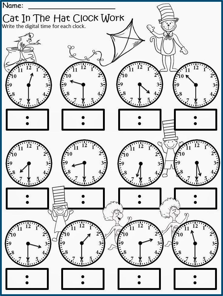 Teaching Time Clock Worksheets
