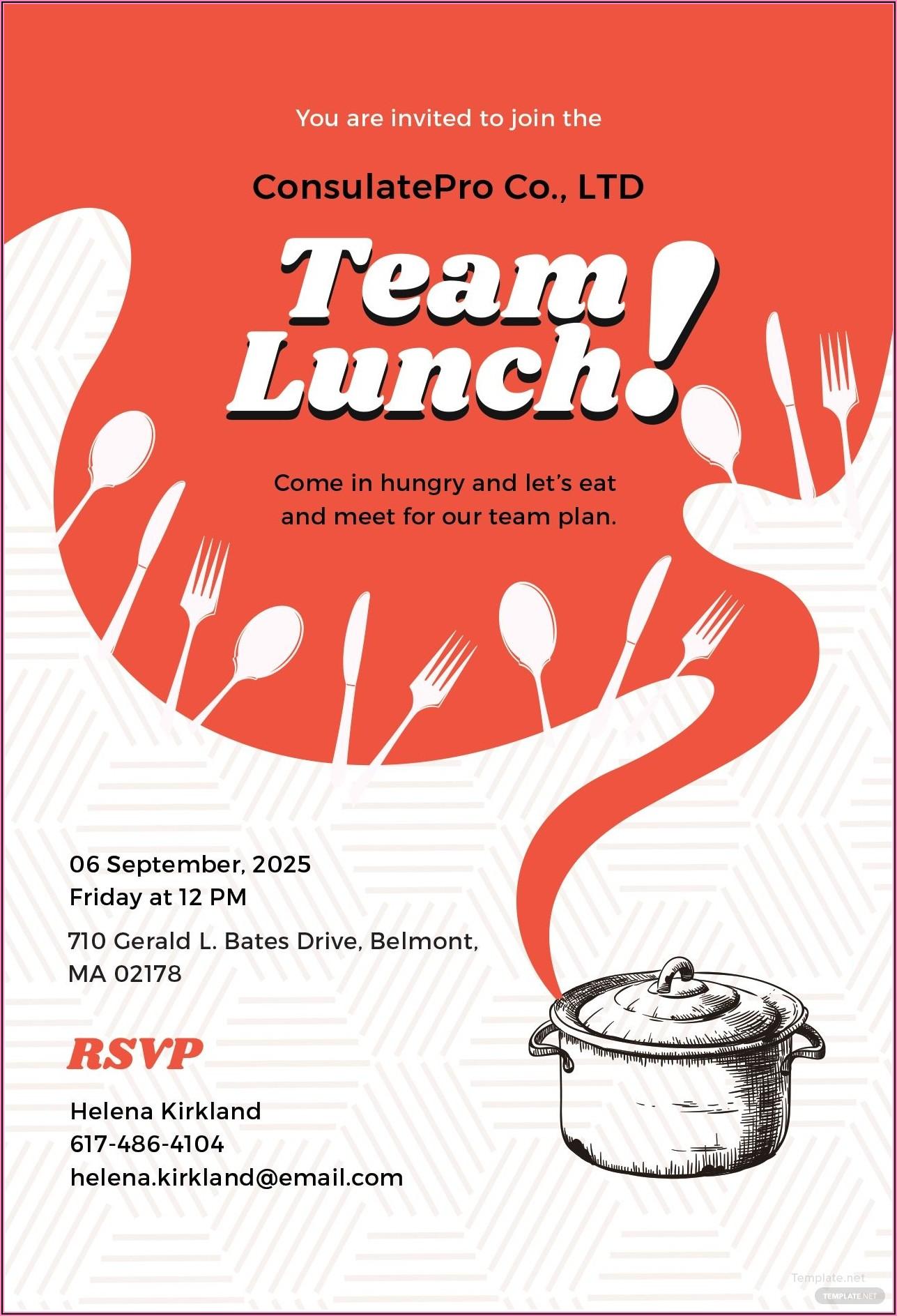 Team Dinner Invitation Email Template