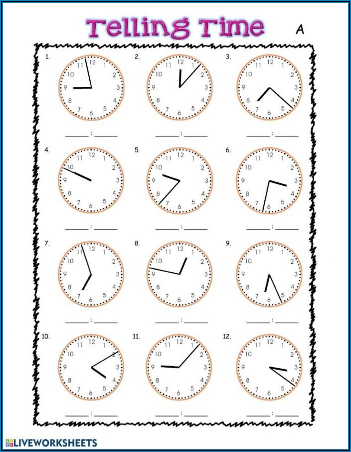 Telling Time Worksheet Preschool