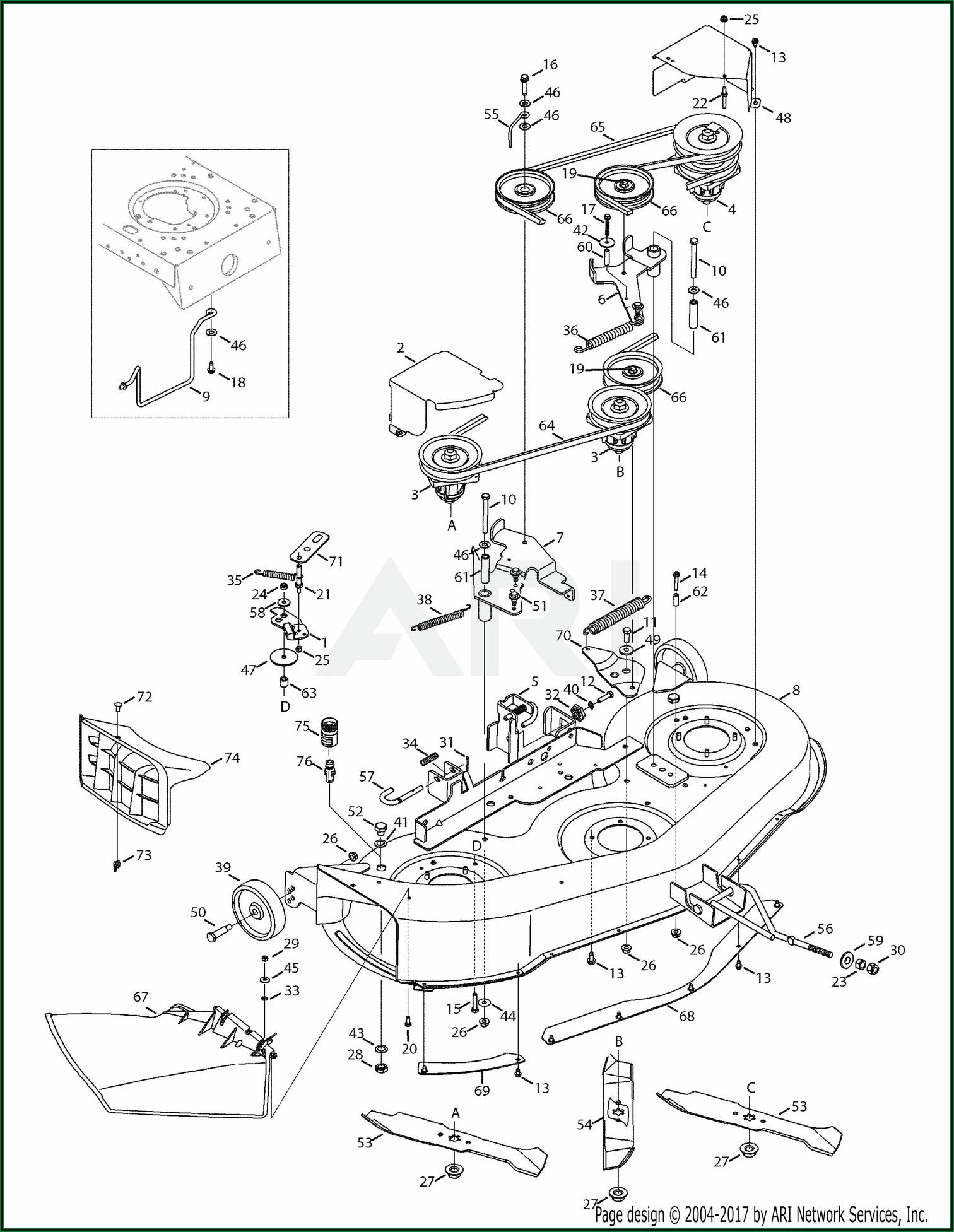 Troy Bilt Bronco Riding Mower Deck Diagram