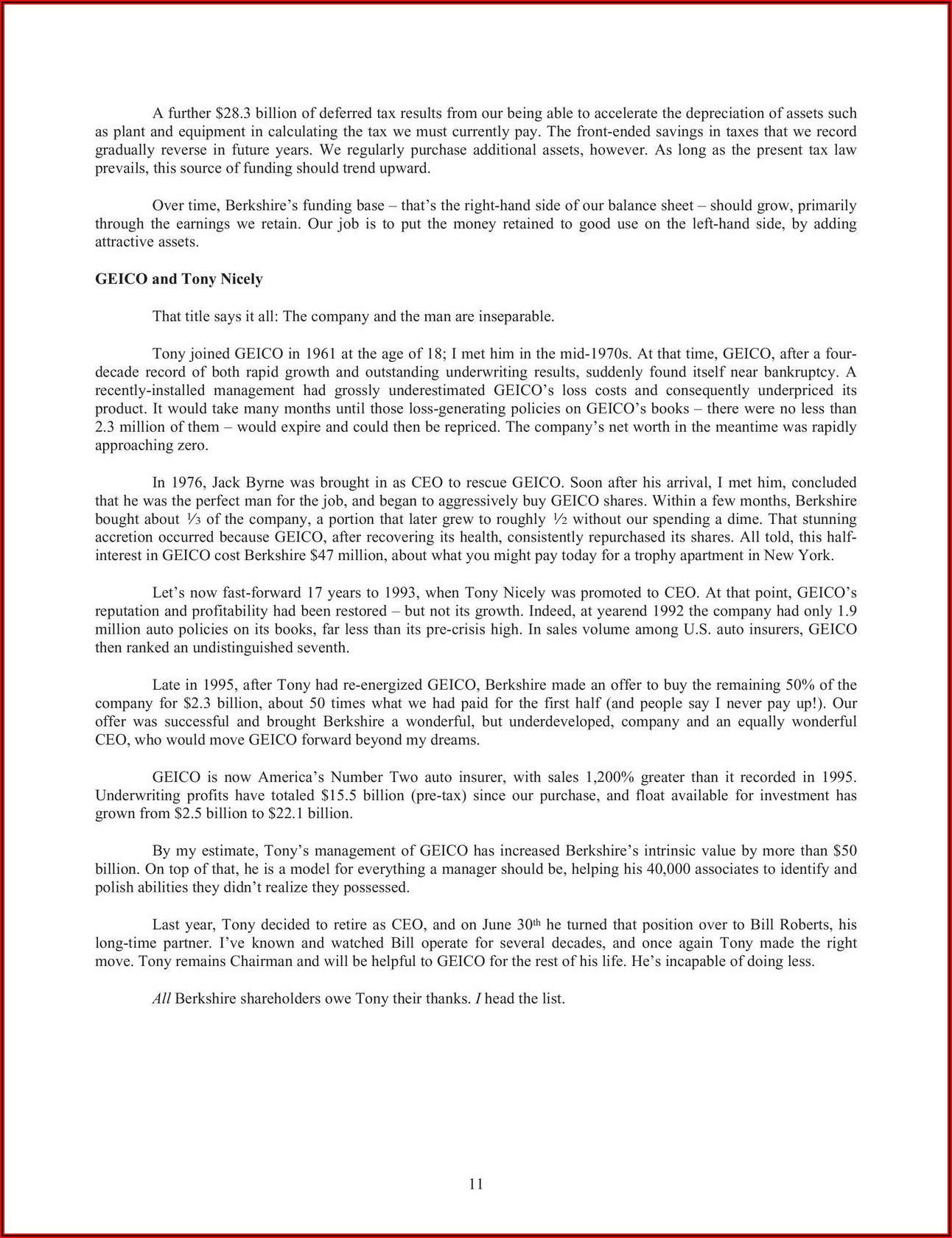 Warren Buffett Letter To Shareholders 2018